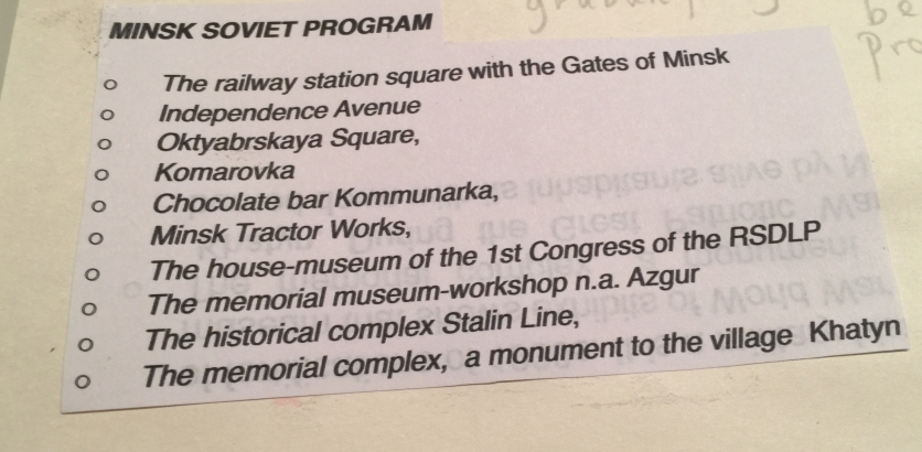 3) Minsk Sovyet Gezi Programı